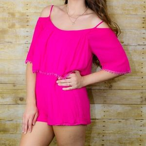 Lush Romper Cold Shoulder Hot Pink Size Small